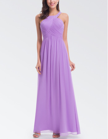 Custom Halter Sleeveless Floor Length Chiffon Bridesmaid Dresses