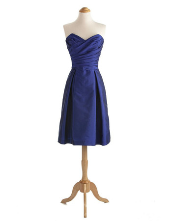 Inexpensive Sweetheart Knee Length Taffeta Bridesmaid Dresses