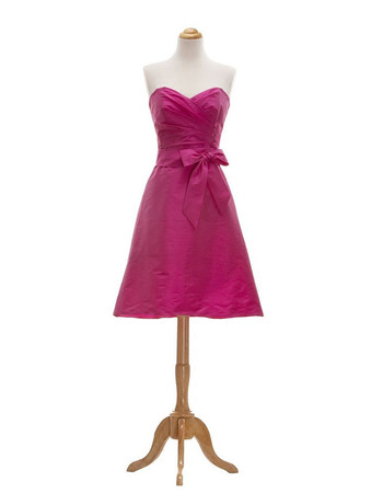 Affordable A-Line Sweetheart Short Taffeta Bridesmaid Dresses