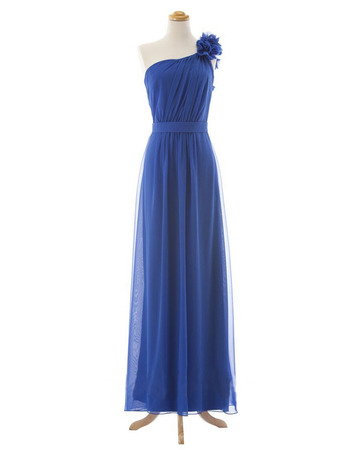 2019 Style One Shoulder Floor Length Chiffon Bridesmaid Dresses