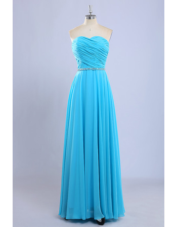 Vintage Sweetheart Floor Length Chiffon Pleated Bridesmaid Dresses