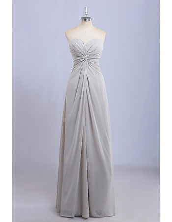 2019 New Sweetheart Floor Length Chiffon Beading Bridesmaid Dresses