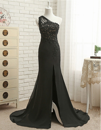 Affordable Sheath One Shoulder Floor Length Chiffon Evening Dresses