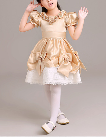 Affordable Short Taffeta Lace Flower Girl Dresses with Bubble Sleeves
