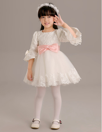 Adorable Short Flower Girl Dresses with 3/4 Long Sleeves and Sashes