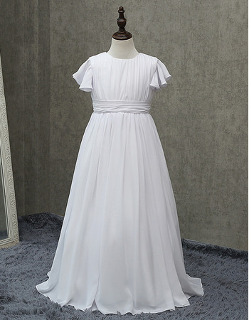 Inexpensive Long Chiffon First Communion Dresses with Short Sleeves