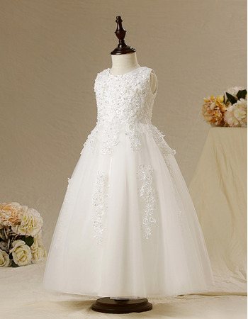 Affordable Ball Gown Sleeveless Ankle Length First Communion Dresses