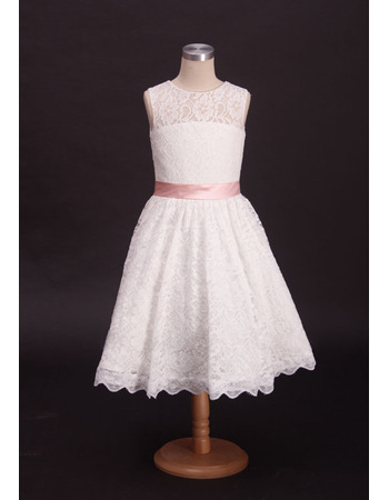 Stunning A-Line Tea Length Lace First Communion Dresses with Belts