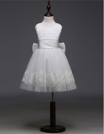2018 New Ball Gown Sleeveless Short First Communion Dresses with Bows