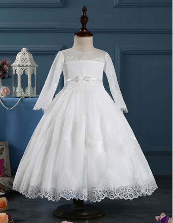 Custom Ball Gown Tea Length First Communion Dresses with Long Sleeves