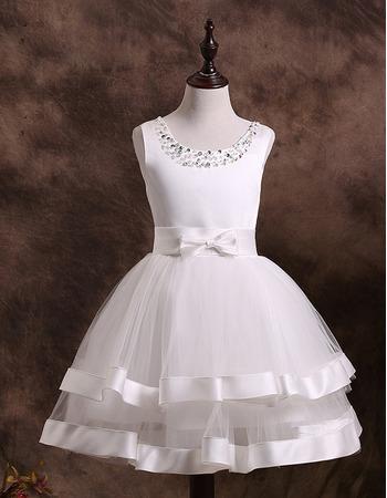 Discount Ball Gown Short Satin Organza First Communion Dresses
