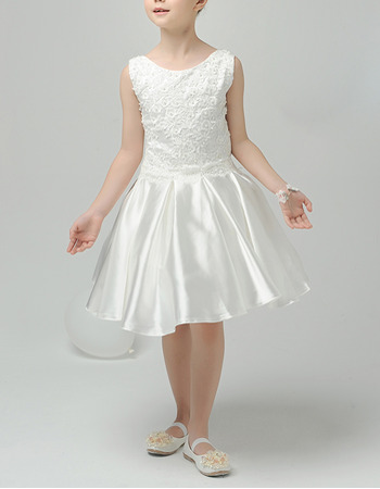 Custom A-Line Sleeveless Short Taffeta First Communion Dresses