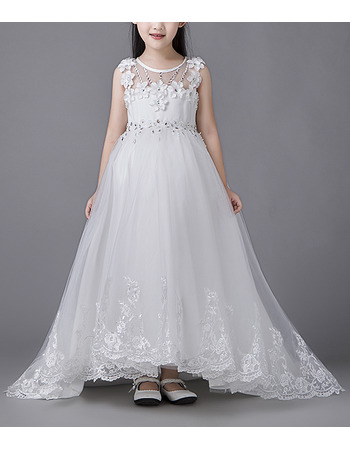 Affordable Sleeveless High-Low Sweep Train Organza Flower Girl Dresses