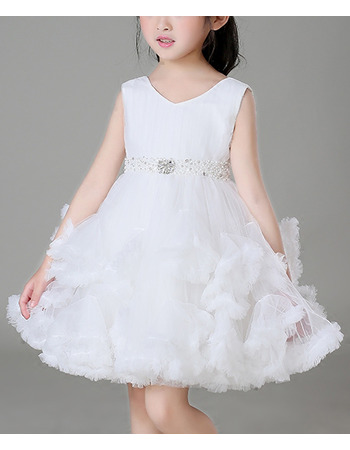 Inexpensive A-Line Mini/ Short Ruffle Skirt Flower Girl Dresses