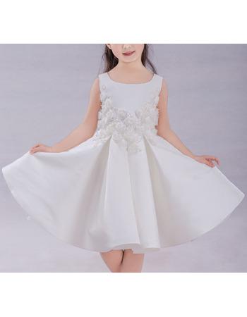 Custom A-Line Knee Length Satin Flower Girl Dresses with Appliques