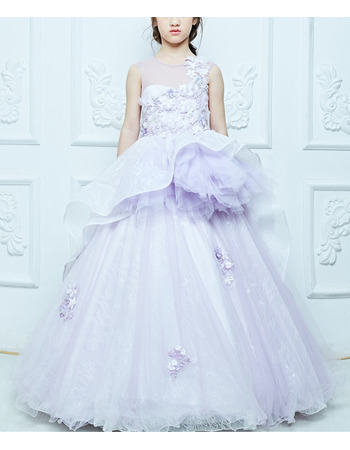 Discount Ball Gown Floor Length Lace Little Girls Party Dresses