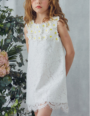 Stunning Column Mini Lace Easter Little Girls Dresses with Appliques