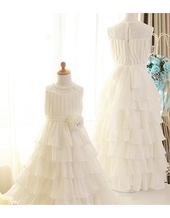 Cute Long Chiffon Layered Skirt Flower Girl/ First Communion Dresses