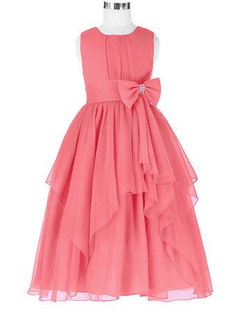 Custom Ball Gown Tea Length Chiffon Little Girls Party Dresses
