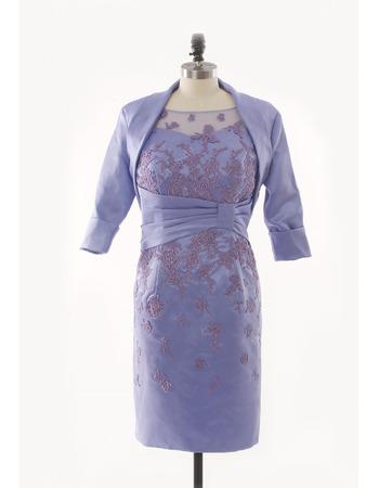 Custom Column Sleeveless Short Satin Mother Dresses with Jackets