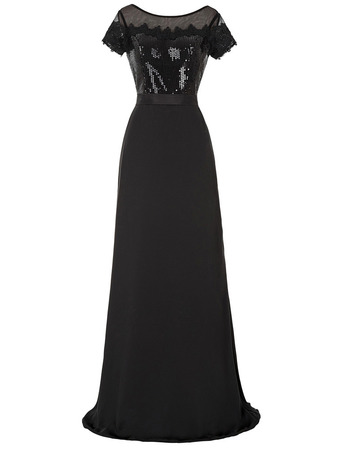 Custom Floor Length Chiffon Sequin Mother Dresses with Short Sleeves