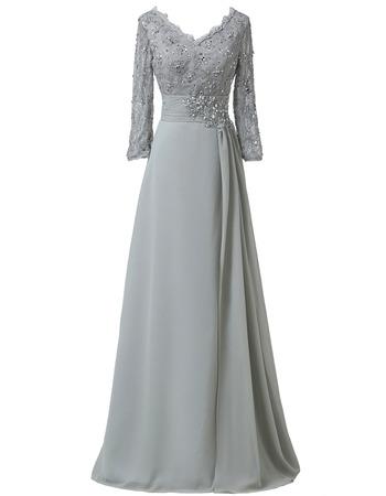 Elegant V-Neck Floor Length Chiffon Mother Dress with 3/4 Long Sleeves