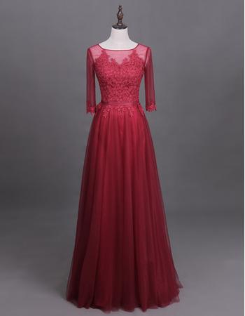 Custom Floor Length Organza Mother Dresses with 3/4 Long Sleeves