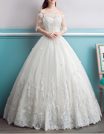 Affordable Ball Gown Off-the-shoulder Wedding Dress with Half Sleeves