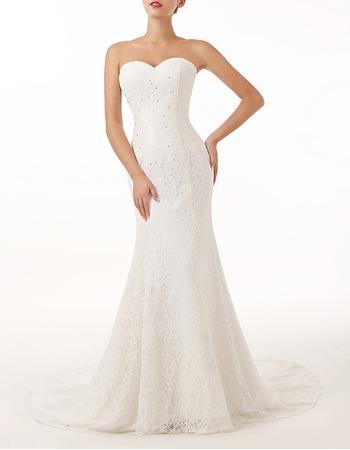 Sexy Sheath Sweetheart Sleeveless Sweep Train Lace Wedding Dresses