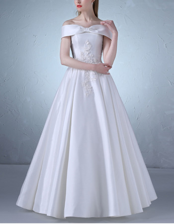Custom Off-the-shoulder Floor Length Satin Lace-Up Wedding Dresses