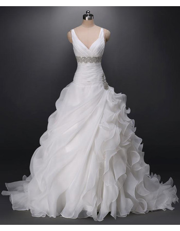 Sexy V-Neck Sweep Train Organza Asymmetric Ruffle Wedding Dresses