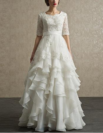 Affordable Chiffon Layered Skirt Wedding Dresses with Half Sleeves
