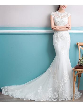 Inexpensive Mermaid Court Train Organza Embroidery Wedding Dresses