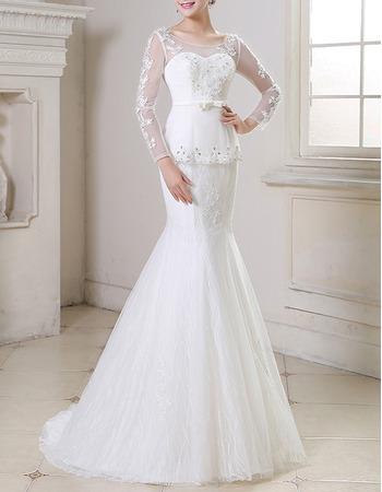 Sexy Mermaid Sweep Train Organza Wedding Dresses with Long Sleeves