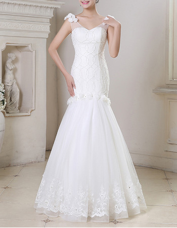 2018 New Style Mermaid V-Neck Floor Length Beading Wedding Dresses
