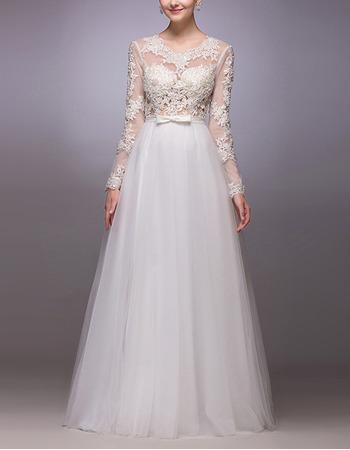 Custom A-Line Floor Length Organza Wedding Dresses with Long Sleeves