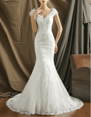 2018 New Style Mermaid V-Neck Organza Embroidery Wedding Dresses