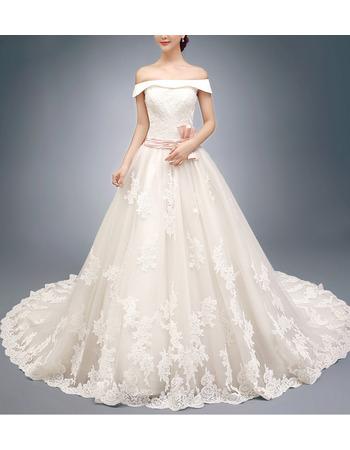 Elegant Off-the-shoulder Lace Skirt Wedding Dresses with Belts