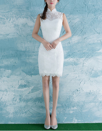 Custom Sheath Mandarin Collar Sleeveless Mini Lace Wedding Dresses ...