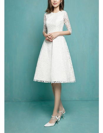Vintage A-Line Short Lace Reception Wedding Dresses with Half Sleeves