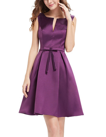 Discount Sleeveless Short Satin Bridesmaid/ Homecoming Dresses