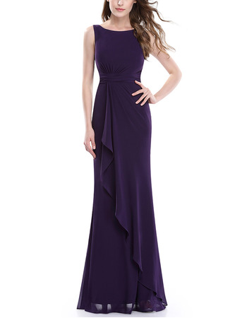 Inexpensive Sheath Sleeveless Floor Length Chiffon Bridesmaid Dresses