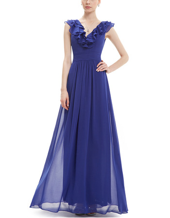 Vintage V-Neck Floor Length Chiffon Ruffle Bridesmaid Dresses