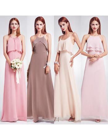 2019 Style Spaghetti Straps Floor Length Chiffon Bridesmaid Dresses