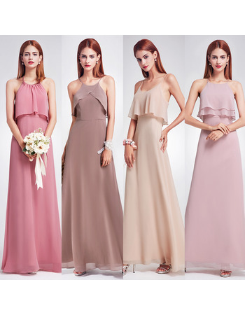 Elegant Spaghetti Straps Floor Length Chiffon Bridesmaid Dresses