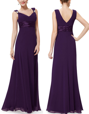 Custom V-Neck Floor Length Chiffon Bridesmaid Dresses with Straps