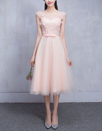 Custom A-Line Sleeveless Knee Length Satin Tulle Bridesmaid Dresses