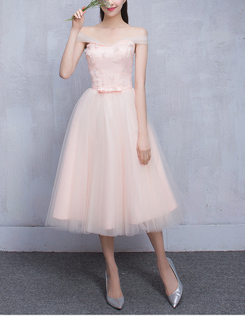 Elegant Off-the-shoulder Knee Length Satin Tulle Bridesmaid Dresses