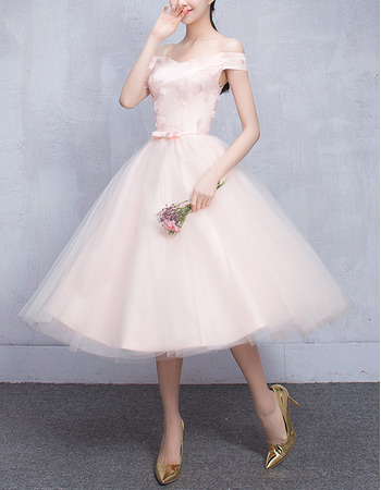 Custom Off-the-shoulder Knee Length Satin Tulle Bridesmaid Dresses