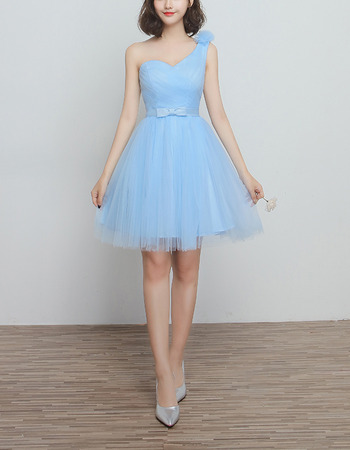 Vintage One Shoulder Knee Length Satin Tulle Bridesmaid Dresses